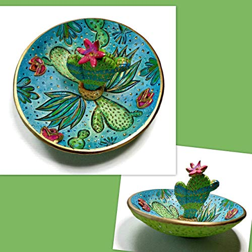 Cactus Ring Dish- Handpainted Jewelry Holder-Trinket Dish- Polymer Clay Dish- Gifts for Her Birthday Engagement Bridal ()