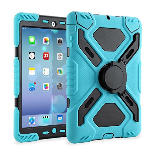 Ipad 2/3/4 Case Plastic Kid Proof Extreme Duty Dual Protective Back Cover with Kickstand and Sticker for Ipad 4/3/2 - Rainproof Sandproof Dust-proof Shockproof (Blue/black)