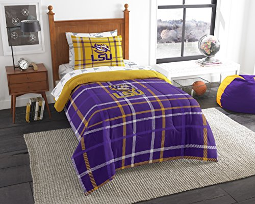 (Officially Licensed NCAA LSU Tigers Soft & Cozy 5-Piece Twin Size Bed in a Bag Set)