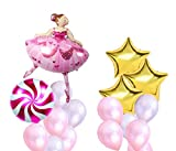 Dancing Girl and Windmill Lollipop Foil Balloons for Confession Bachelorette Baby Shower Window Design Birthday Woman Party Decoration (Pink)