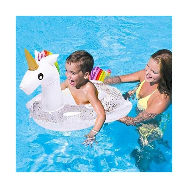 Unicorn Baby Swimming Pool Float with Canopy, Glitters Seat & Safety Handle, 2021 Summer baby floats for pool… 9