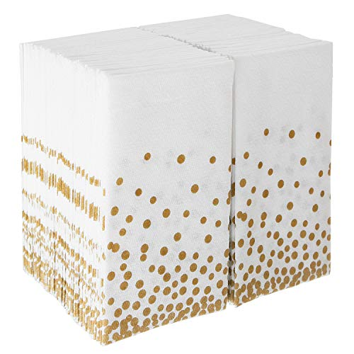 Napkins Bulk For Wedding Reception | Disposable Linen-Feel Guest Towels for Bathroom | Cloth Hand Towel for Powder Room | Paper Guest Towels for Parties, Christmas, Thanksgiving, Fall | 100 Pack ()