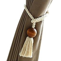 EleCharm 1 Pair American Style Natural Wooden Beaded Handmade Tassel Curtain Rope Tie