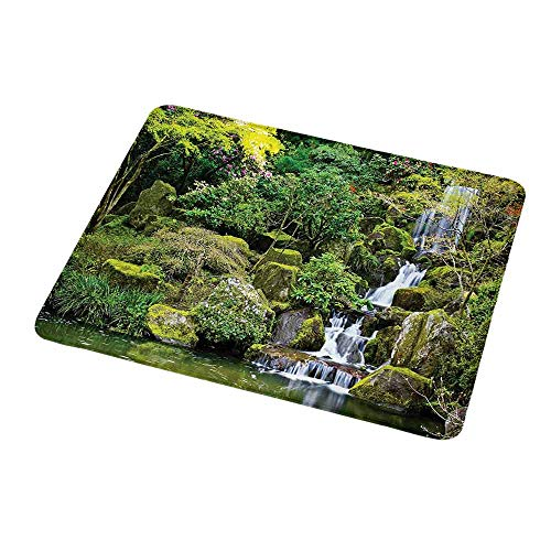 - Gaming Mouse Pad Garden,Pond in Asian Style Garden Arboretum Trees Bush Foliage Rocks Waterscape Picture,Green White,Custom Non-Slip Mouse Mat 9.8