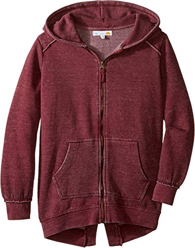 Pocket C&c California (C&C California Kids Girl's Burnout Fleece Tunic Length Thermal Hood Lining (Little Kids/Big Kids) Berry Large)