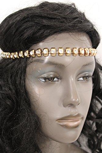 TFJ Women Fashion Head Classic Style Basic Headband Gold Metal Chain Studs Charm Silver (Halloween Castume)
