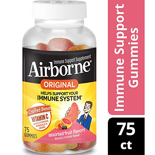 Vitamin C 750mg - Airborne Assorted Fruit Flavored Gummies (75 count in a bottle), Gluten-Free Immune Support Supplement with Echinacea and Ginger, Packaging May Vary (Airborne Chewable Tablets)