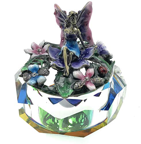 (Jeweled Enameled Fairy Rainbow Crystal Base Treasure Trinket Box)