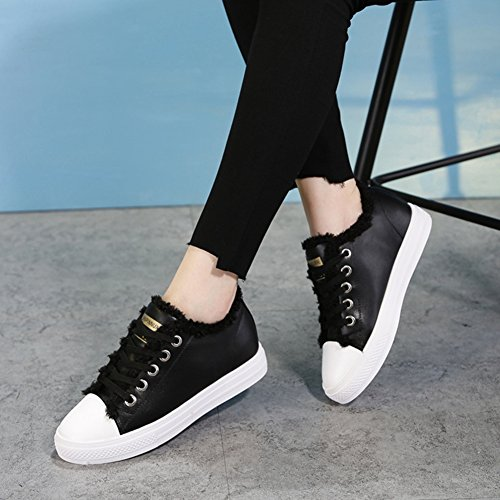 Womens Flat Fashion Sneaker Plus Wool Lace Up Warm Casual Sport Running Shoes Winter Black d3w0k6MIJ