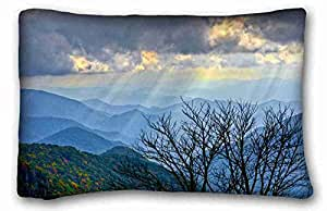 Custom Characteristic ( Landscapes Mountains sky Rays tree landscape ) Pillow Cushion Case Cover One Sides Printed 20x30 Inches suitable for Twin-bed PC-Orange-37020