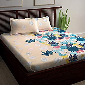 Story@Home Floral Print 100% Combed Cotton Premium Style Double /Queen Size Bed Bedsheet Set Bedspread with 2 Pillow Covers, Cream and Yellow