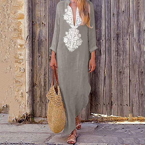 Women's V-Neck Full Sleeve Maxi Dresses Cotton Linen Casual Elegant Split Hem Kaftan Cover up Beach Long Dress Plus Size (Gray, XX-Large/US:12) by Cealu (Image #1)