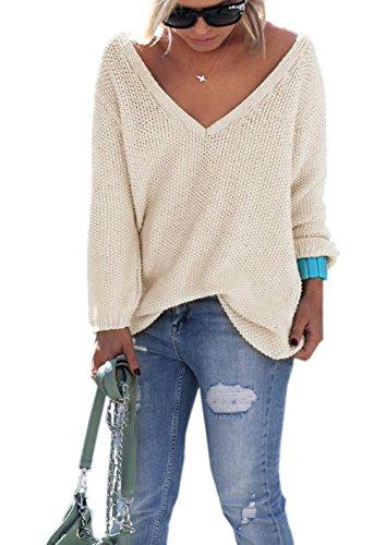 Tunique Printemps Automne Sweater Femmes Tops Chandail Longues Lache Mode Col de Casual Pulls Les Pullover Tricots Jumper Manches Tous Unie Jours Couleur Blouse et Hauts V Abricot 44qrw5p