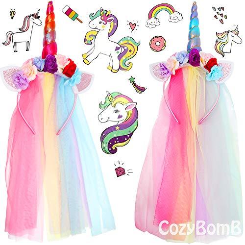 2 Pieces Rainbow Unicorn Headbands by CozyBomB with