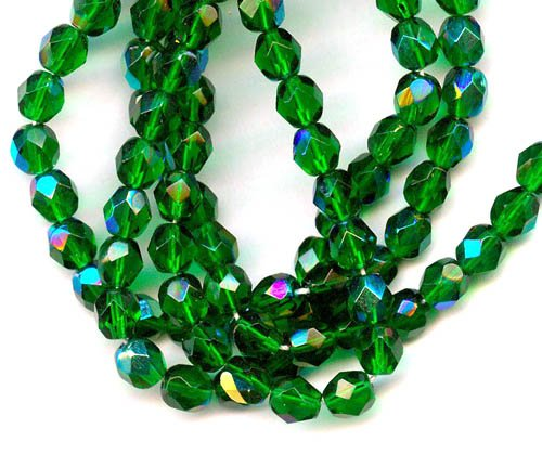 6mm Fire Polish Faceted Round Czech Glass Beads - Green Emerald AB (25