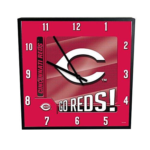 "The Memory Company MLB Cincinnati Reds Go Team! 12"" Square Clock, One Size, Multicolor"