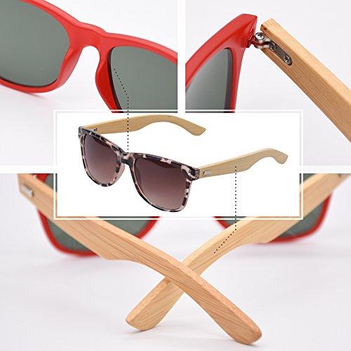 Lunettes KINDOYO Jambes de la UV400 Bamboo Léopard Lunettes pour et à Mode Femmes soleil Hommes rSCw5z0qr