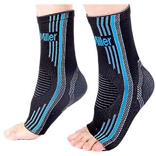 Doc Miller Ankle Brace Compression - 1 Pair Support Men Women Best Foot Sleeve Achilles Tendonitis Plantar Fasciitis Arthritis Fracture Reduces Swelling Pain Relief Orthopedic Stabilizer (Blue, XL)