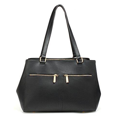 Handbag Black Bag Design Zip Ladies Tote Leather Faux Bag Front 1 2 Women Designer Compartment Design SnxZCEwUq