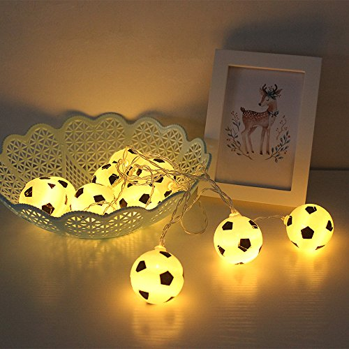 Lixada 10 LED 2.13 Meters Soccer Football LED Strig Light Lamp Warm White 2 AA Batteries Powered Operated for World Cup Theme Party Restaurant Home Decoration
