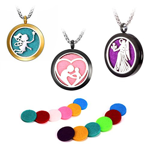 iDMSON Aromatherapy Essential Oil Diffuser Necklace - Stainless Steel Locket Pendant 5 Colorful Pads 23.6