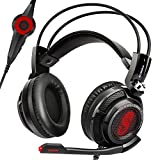 Etekcity H7PX+ 7.1 Channel Virtual Surround Sound Scroll Gaming Headset with Mic, Over ear Noise Isolation Pads (Black/Red)