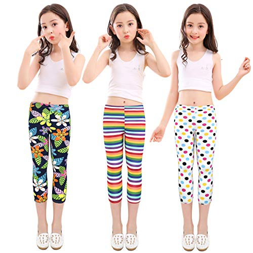 slaixiu Girls Leggings Stretchy Kids Pants Classic Printing Flower Pattern(GP02_Capri_SEELOO_150#)