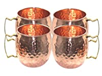STREET CRAFT 100% Authentic Hammered Copper Moscow Mule Mug Handmade of 100% Pure Copper, Brass Handle Hammered Moscow Mule Mug / Cup, Size-16 Ounce