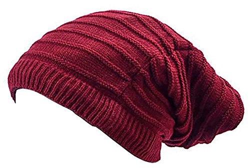 Muchos Invierno gorros de Reversible de gorros de bufanda de de Invierno de bufandas de redondo bufanda de Long de gorro de muetzen Invierno Edition Skul lred Rojo