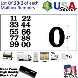 4'' Black Custom Mailbox Numbers - Lot of 20 (2 of each number form 0 to 9) 4 inch tall, Black Self Adhesive Vinyl Mailbox, Doors, Tool Box, Locker,Car,Truck,Address Decal Stickers (Bookman Bold)