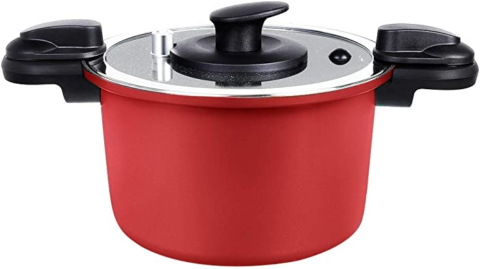 FGY 6 Quart Pressure Stockpot with Lid, Nonstick Saucepot with Stone-derived Ceramic Coating, 2 Times Faster, Pressure Cooker Cooking for Soup, Pasta, Use for Gas, Induction, Ceramic and Electric, Red