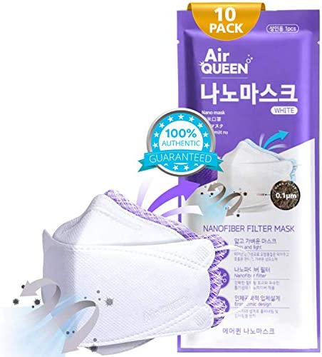 AIRQUEEN Authentic [10 Pack] 3-Layers Nano-Filter Face Safety Mask for Adult [Individually Packaged] [Made in South Korea]