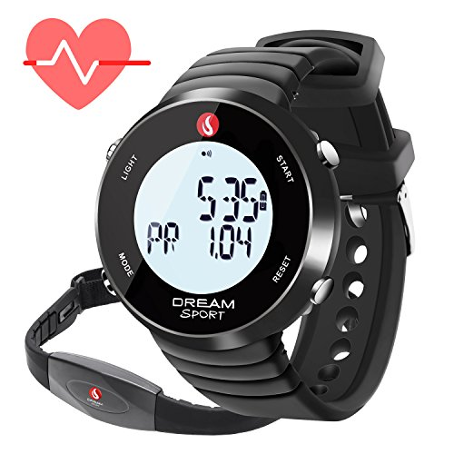 dreamsport Heart Rate Monitor Watch with Chest Strap,Fitness Tracker and Stopwatch/Alarm/Calorie Counter/7 Days Memory/BMI/30M Water (Digital Heart)