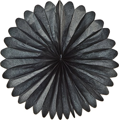Luna Bazaar Hanging Paper Fan (19-Inch, Black) - Rice Paper Honeycomb Decorations - For Home Decor, Parties, and Weddings