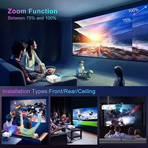 """TOPTRO WiFi Projector,5500 Bluetooth Projector,Support 1080P Home Video Projector,200"""" Display,HiFi Speaker Compatible with TV Stick/Phone/Laptop/PS4/SD/USB/VGA/HDMI"""