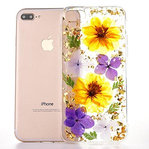 iPhone 8Plus Case, Funda iPhone 7Plus, YFZYT Verdadera Hecha a Mano Presionado Caja de la flor, de Primera Calidad a Prueba de Golpes Transparente Protectora Caso de Parachoques de TPU para 5.5 Pulgad Flores de Colores 1