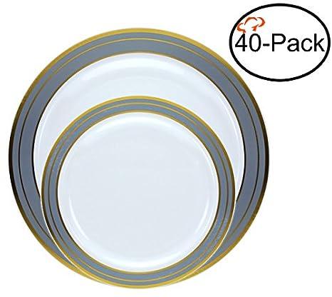 Amazoncom Tiger Chef Quality Reusable Plastic Dinnerware Set
