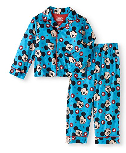 AME Disney Mickey Mouse 2 Piece Button Down Pajama Sleepwear Set Blue -