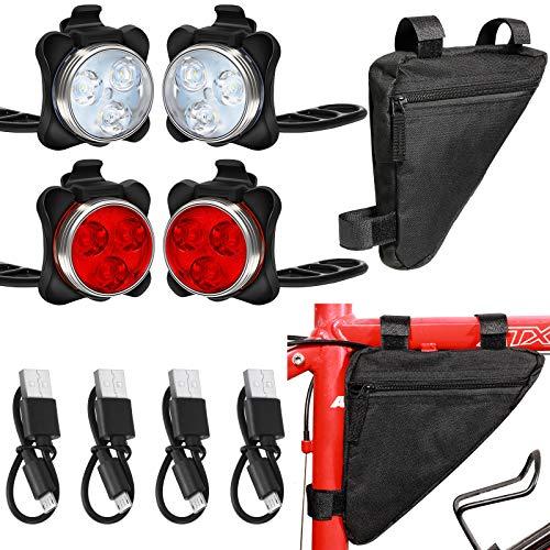 4 Luces LED para bicicleta recarga USB c/ bolso impermeable