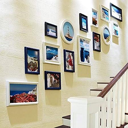 ADSIKOOJF Marcos de Fotos de Pared Simple Blanco Azul establecidos para el Pasillo de la Escalera Decoración de Villa Marcos de Cuadros de Madera Set 15pcs / Set Marcos de Fotos Bailandizhonghai: