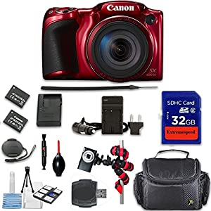 Canon PowerShot SX420 IS Digital Camera (Red) + Extremespeed 32GB High Speed Memory Card + High Speed Memory Card Reader + Spider Tripod + Camera Case and More