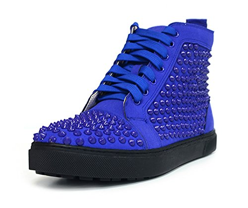 ZXD Round Toe High Top Sports Sneakers Lace up Fashion Skateboard Flats Studded Trainers Shoes Blue 9 D(M) US Men/10.5 B(M) US Women