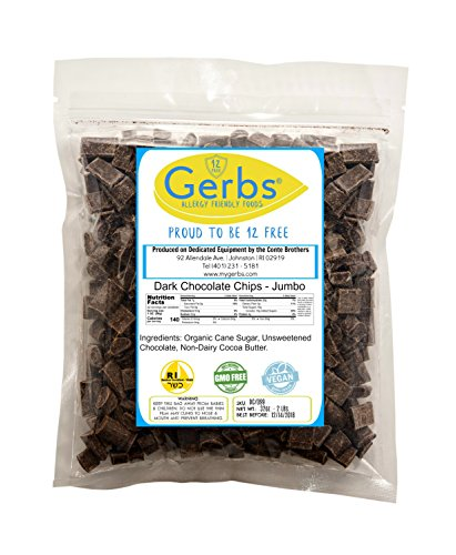 Jumbo Dark Chocolate Chips, 2 LBS (68% Cacao) by Gerbs - Top 12 Food Allergy Free & NON GMO - Product of (Peanut Free Chocolate)