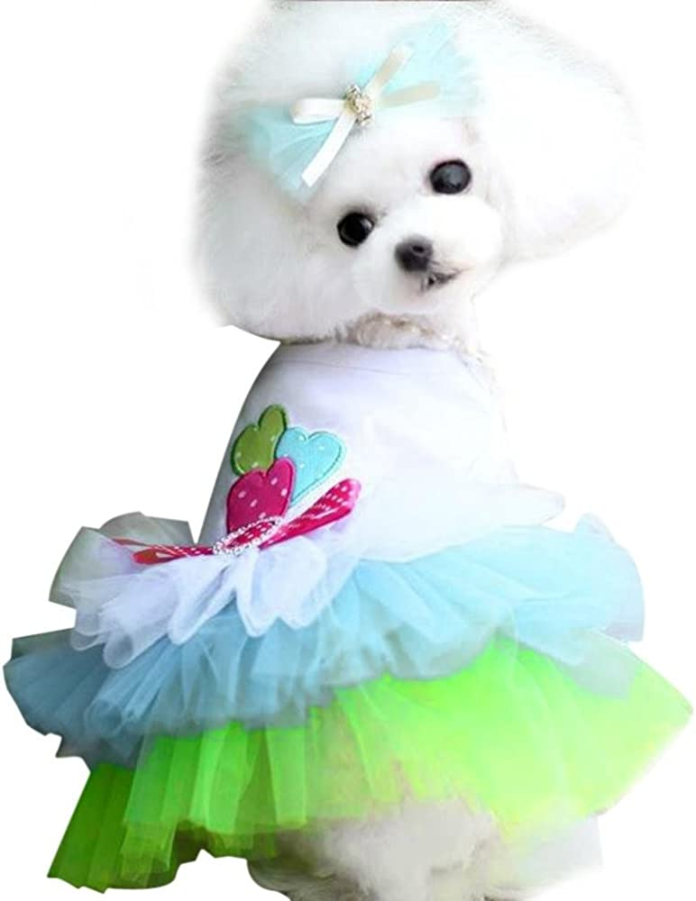 dfd9b3058016 Small Dog Girl Dress,Wakeu Lace Tutu Vest Apparel Clothes for Pet Puppy (XS