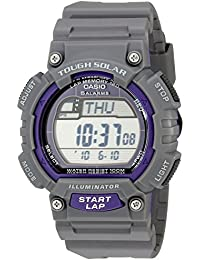 Men's STL-S100H-8AVCF Digital Solar-Powered Gray Stainless Steel Watch with Gray Resin Band