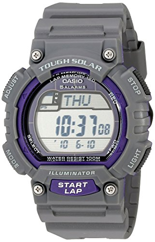 Casio Men's STL-S100H-8AVCF Digital Solar-Powered Gray Stainless Steel Watch with Gray Resin Band Casio