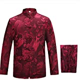 KIKIGOAL Mens Martial Arts Kung Fu Uniform Long Sleeve Tang Suit With Dargon Pattern (XXL, red)