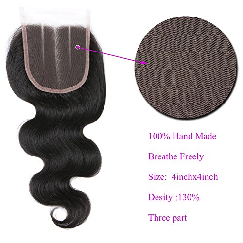 Free Queen 8A Brazilian Virgin Hair 3 Bundles with Closure Body Wave 100% Unprocessed Human Hair Weave With Lace Closure … (18'' 20'' 22''+16''closure, Three Part) by Free Queen (Image #5)