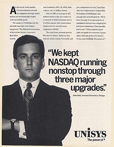 1987 Unisys Account Executive Sam Vail Kept Nasdaq Running Thru 3 Upgrades Print Ad  65945