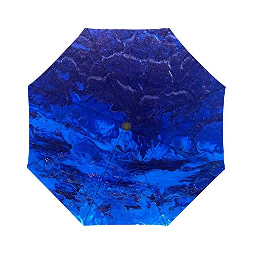 (Blue and Glow Marble Windproof Auto Open And Close Foldable Umbrella, Travel Unbreakable Compact Sun And Rain Umbrella UV Protection)